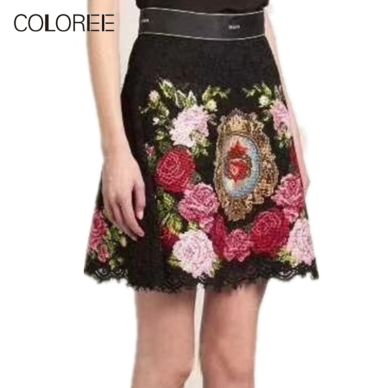 Printemps piste Vintage femmes dentelle jupe 2019 taille haute Floral Rose broderie noir jupe femmes une ligne Mini jupe harajuku