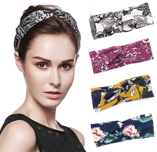 fa1b23a83cf Floral Print Women Cotton Stretch Twist Headbands Turban Sport Bandana Hair  Accessories Bandage On Head Gum Hair Bands
