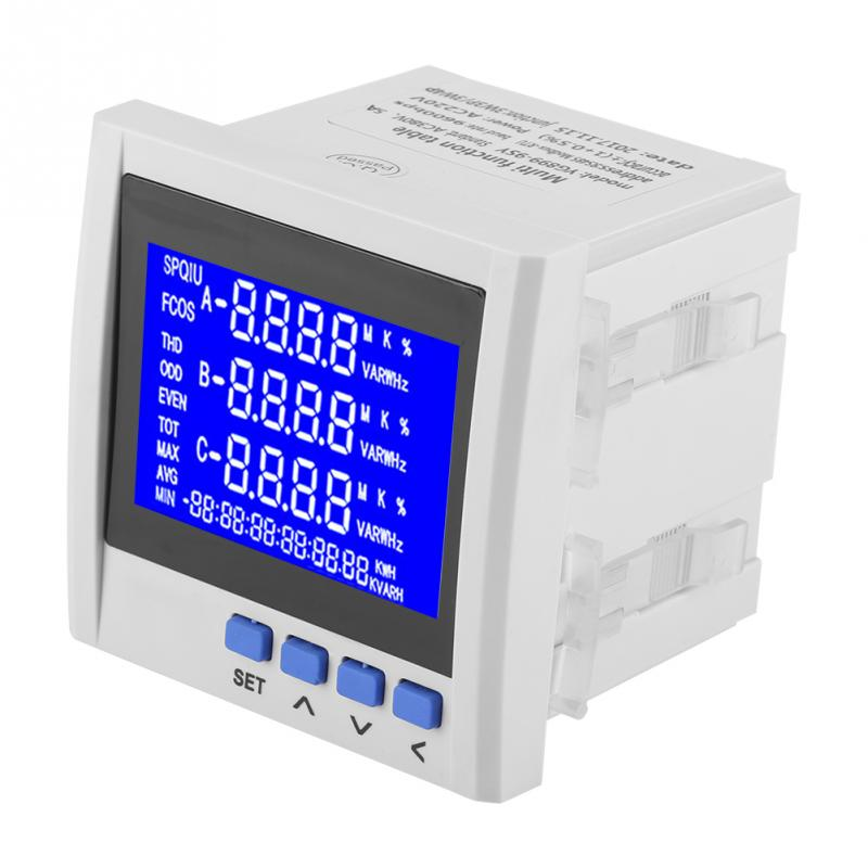 Multifunction 3 Phase Electric Current Voltage Frequency Power Energy Meter V A Hz kWh RS485 Tool