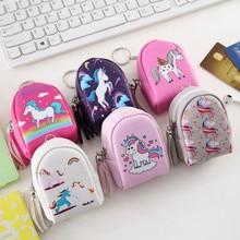 Pouch Keychain Coin-Purse Unicorn Back-Pack Small Wallet Kids Headset Earphone Zipper