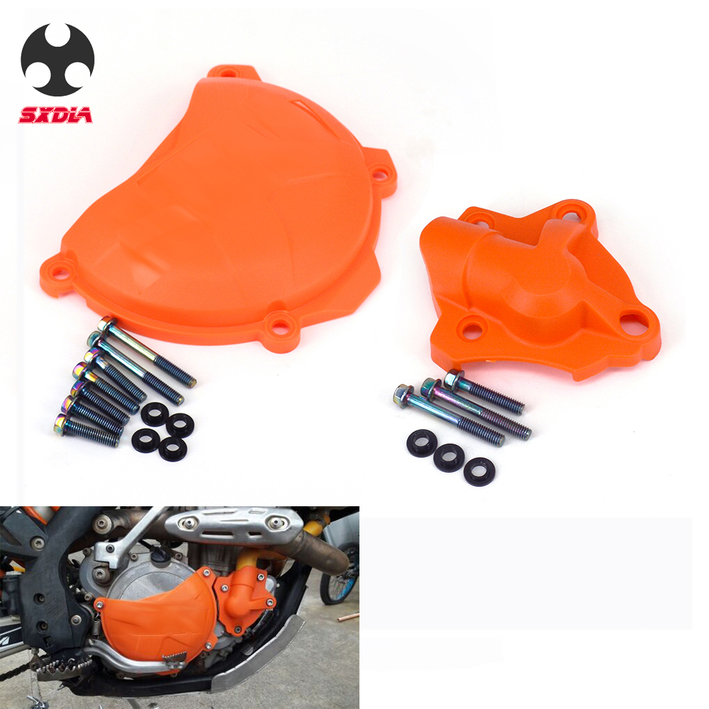 Motorcycle Clutch Cover Protection Water Pump Protector Kit For <font><b>KTM</b></font> 250 <font><b>350</b></font> SX-<font><b>F</b></font> <font><b>EXC</b></font>-<font><b>F</b></font> XC-<font><b>F</b></font> XCF-W Freeride 2013 2014 2015 <font><b>2016</b></font> image