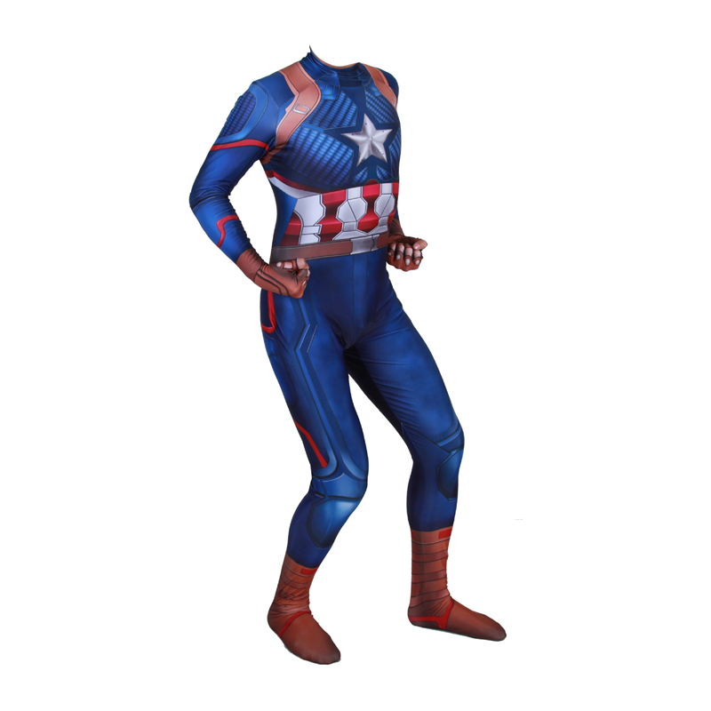 Adult Captain America Costume Superhero Cosplay Costumes Adult Men Halloween Costumes For Men Adult 3D Printing Jumpsuit Suit in Movie TV costumes from Novelty Special Use