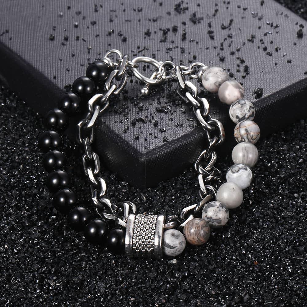 Men's Tiger Eye Stone Beaded Bracelet Stainless Steel Gunmetal Link Chain Yoga Bracelet Male Jewelry Dropshipping 14mm KDBM24