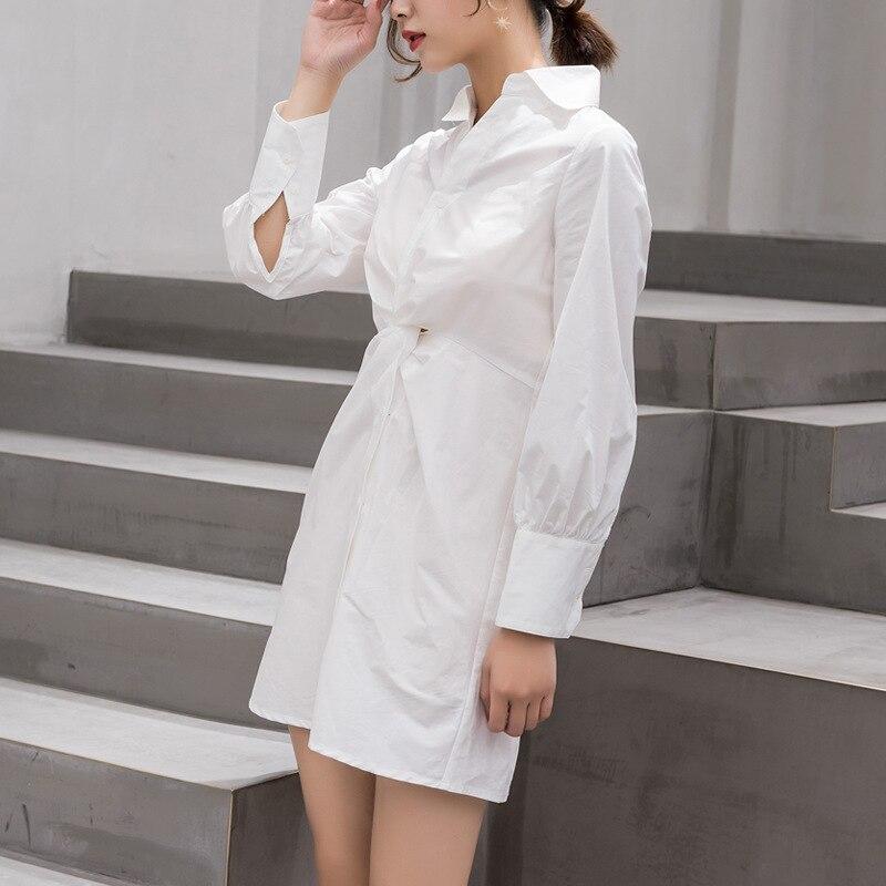 2019 Mode Nouvelle white Khaki À Fold Longues Personnalité Robe Yf431 Col Lanmrem Taille Blanche Blouse Chemise V De Conception Femme Manches wqfSEnd