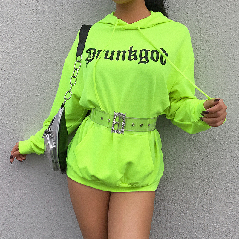 Women's Clothing Deat 2019 Summer Neon Green Pullovers Long Sleeve Hooded Cotton Print Letters Loose Size Sweetshirt Women Streetwear Md829 Exquisite Traditional Embroidery Art