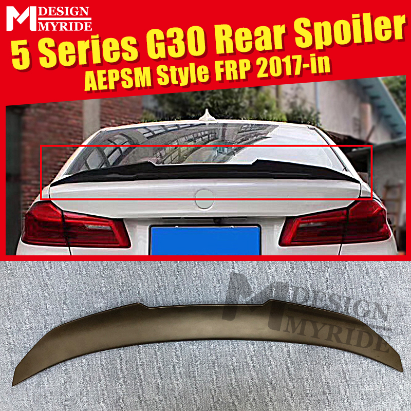 <font><b>G30</b></font> Spoiler rear lip wings FRP Primer black AEPSM style For BMW <font><b>G30</b></font> <font><b>520i</b></font> 530i 535iGT 540i 550i rear trunk Spoiler wing Lip 17-in image