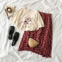Винтаж хлопковая юбка комплект для женщин с круглым вырезом Футболка принтом + Красный Высокая талия женская Юбка-миди модная одежда компле...