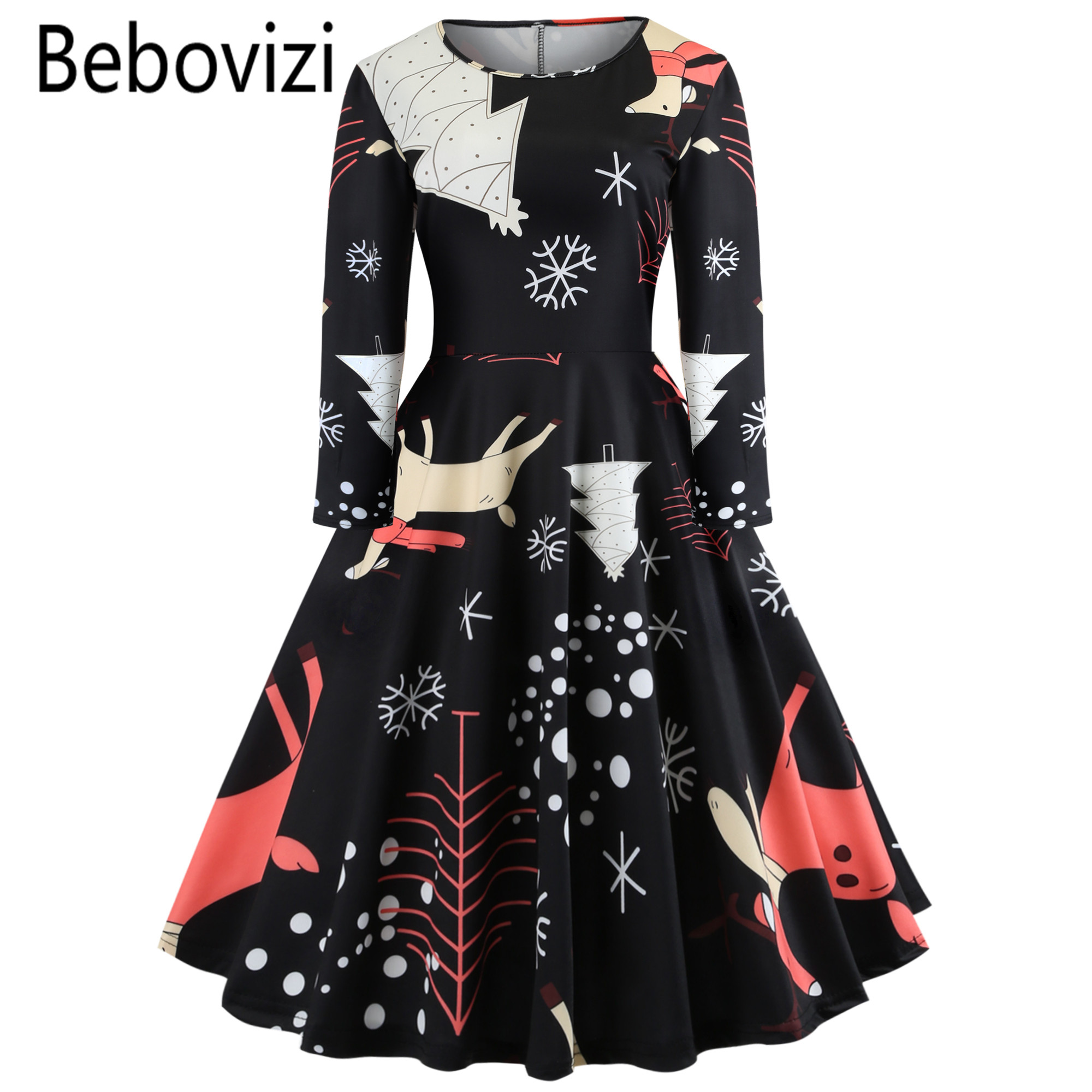 Detail Feedback Questions about Xmas Midi Dresses Black Christmas Plus Size  Long Sleeve 2019 New Year Party Dress Vestido De Festa Girls Swing Clothes  for ... 9cda6fdf946e