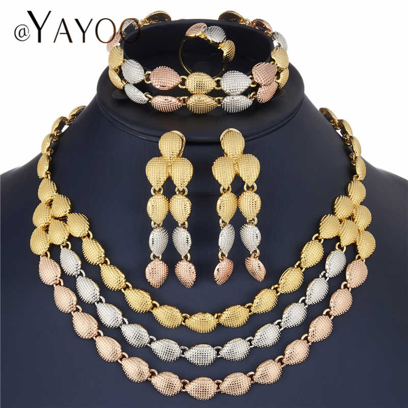 AYAYOO Bridal Jewelry Sets Indian Gold Color Crystal Wedding Jewelry Sets For Women African Luxury Big Dubai Jewelry Set