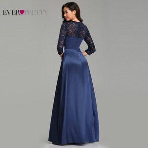 Image 3 - גלימת דה Soiree אי פעם די EZ07720 חיל הים כחול אונליין תחרה חצי שרוול סאטן ערב שמלות ארוך אלגנטי חתונת אורחים שמלות