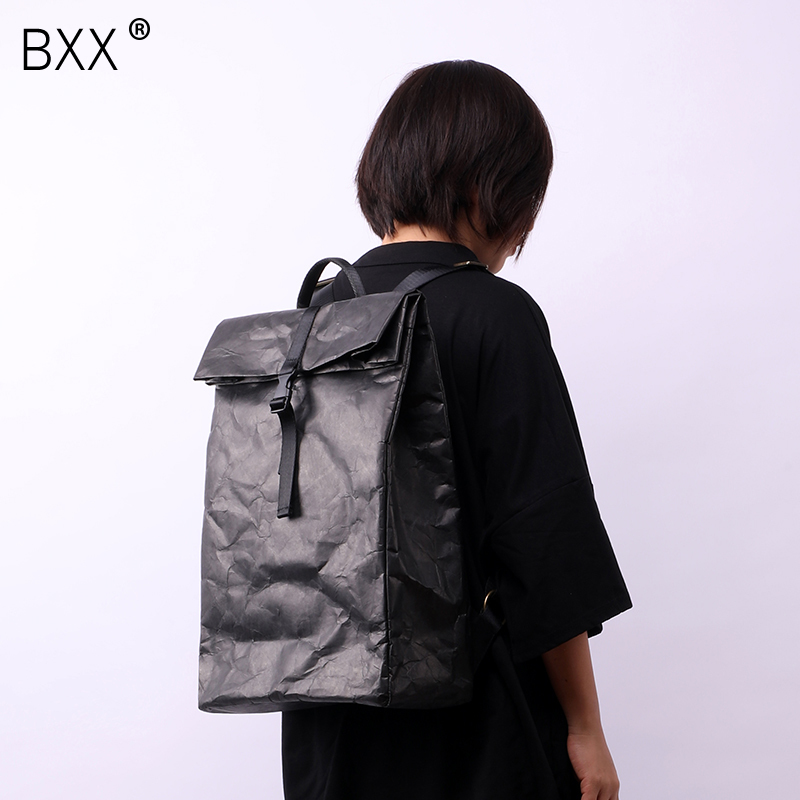 BXX 2019 Summer Woman Black White Color Waterproof High Capacity Pleated Literature Double Straps Light