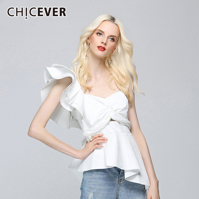 CHICEVER 2018 Sexy Off Shoulder Female T Shirts For Women Tops Irregular Single Slim T Shirts Tops Clothes Fashion Korean New