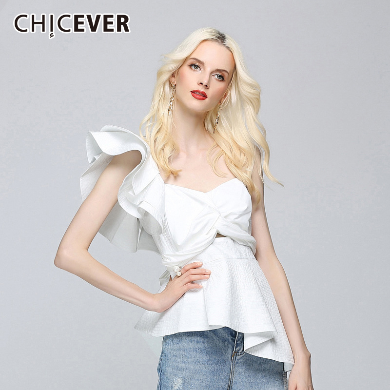 CHICEVER 2020 Sexy Off Shoulder Female T Shirts For Women Tops Irregular Single Slim T Shirts Tops Clothes Fashion Korean New|t shirts for women|female t shirtsfashion t shirt - AliExpress