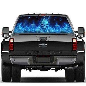 Image 2 - 135x36 سنتيمتر ل SUV النافذة الخلفية المشتعلة الجمجمة كول ملصق الخلفي نافذة ملصق نمط Phantom