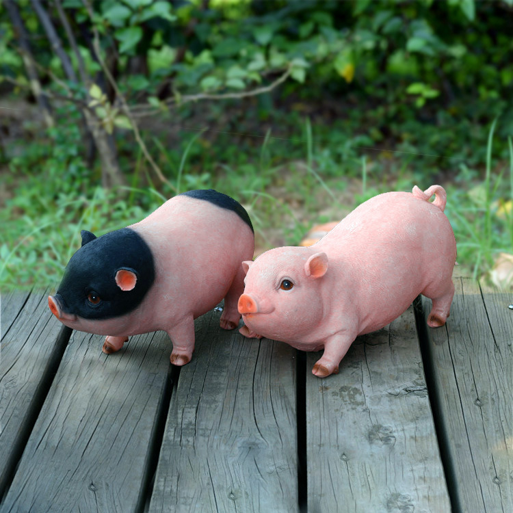 Garden Decoration Garden Ornaments Cute Creative Home Accessories Birthday Gift Simulation Resin Animal Pig Ornaments