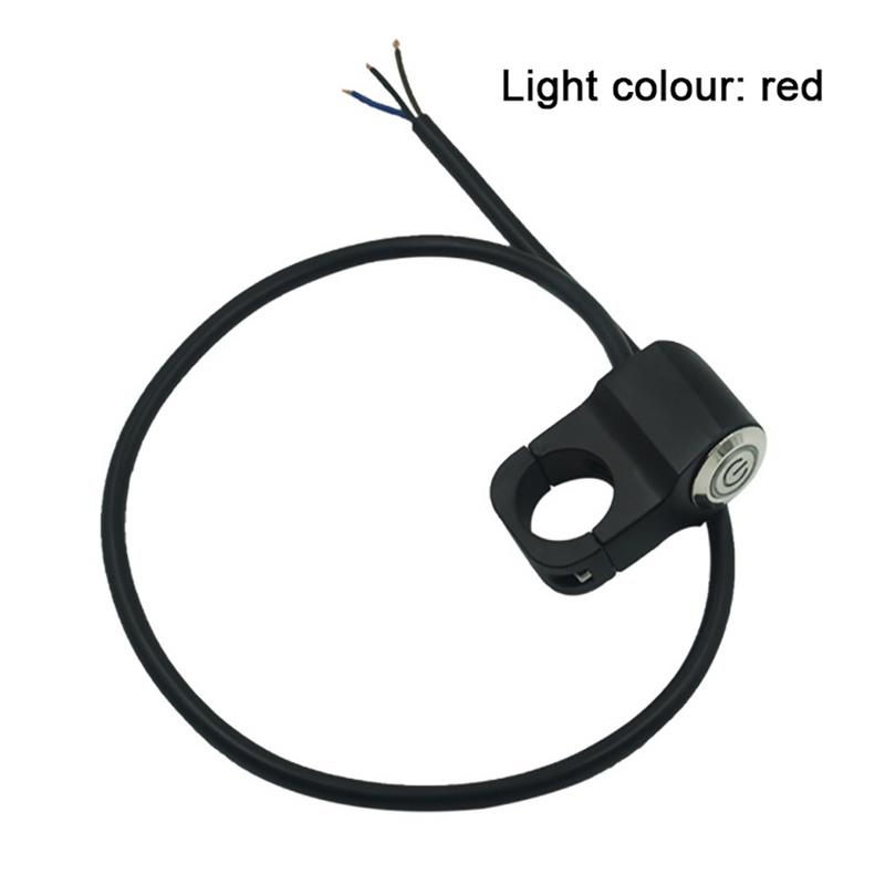 Universal 12V Modified LED Aluminum Alloy Switch With Self-locking Button For Motorcycle Electric Vehicle Blue And Red Light