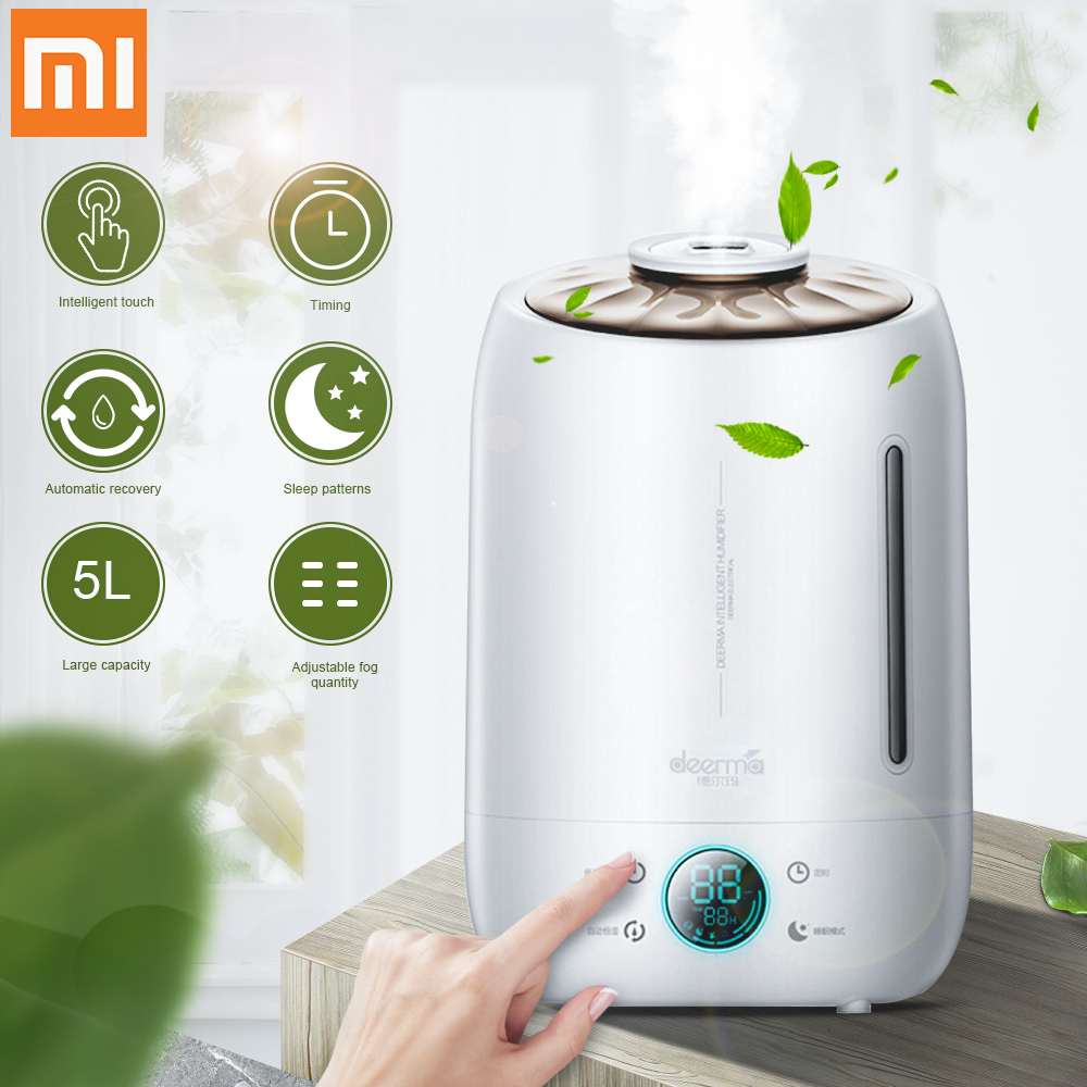 Xiaomi Deerma Air Humidifier Aroma Diffuser Oil Ultrasonic Fog 5l Quiet Aroma Mist Maker Led Touch