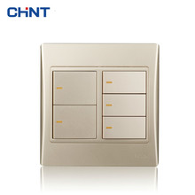CHINT Electric Wiring Switch To Light 120 Type NEW9L Golden Five Gang Two Way Wall Switches chint lighting switches 118 type switch panel new5d steel frame four position six gang two way switch panel