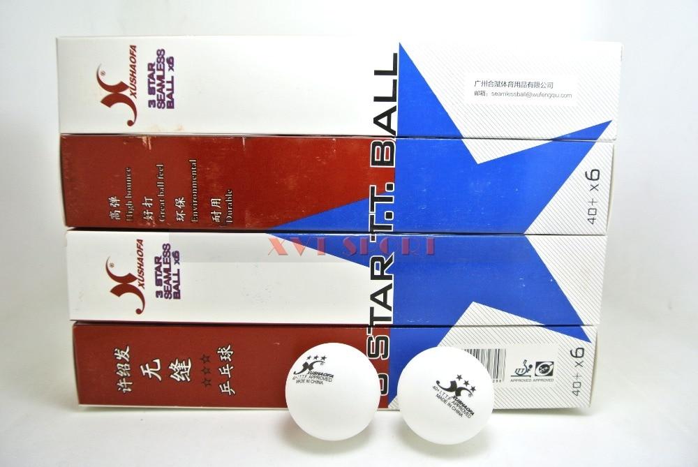 ITTF Apprved XUSHAOFA 3 Star 40+ New Material Seamless  PP Ball Table Tennis Ball / Ping Pong Ball 6pcs/box