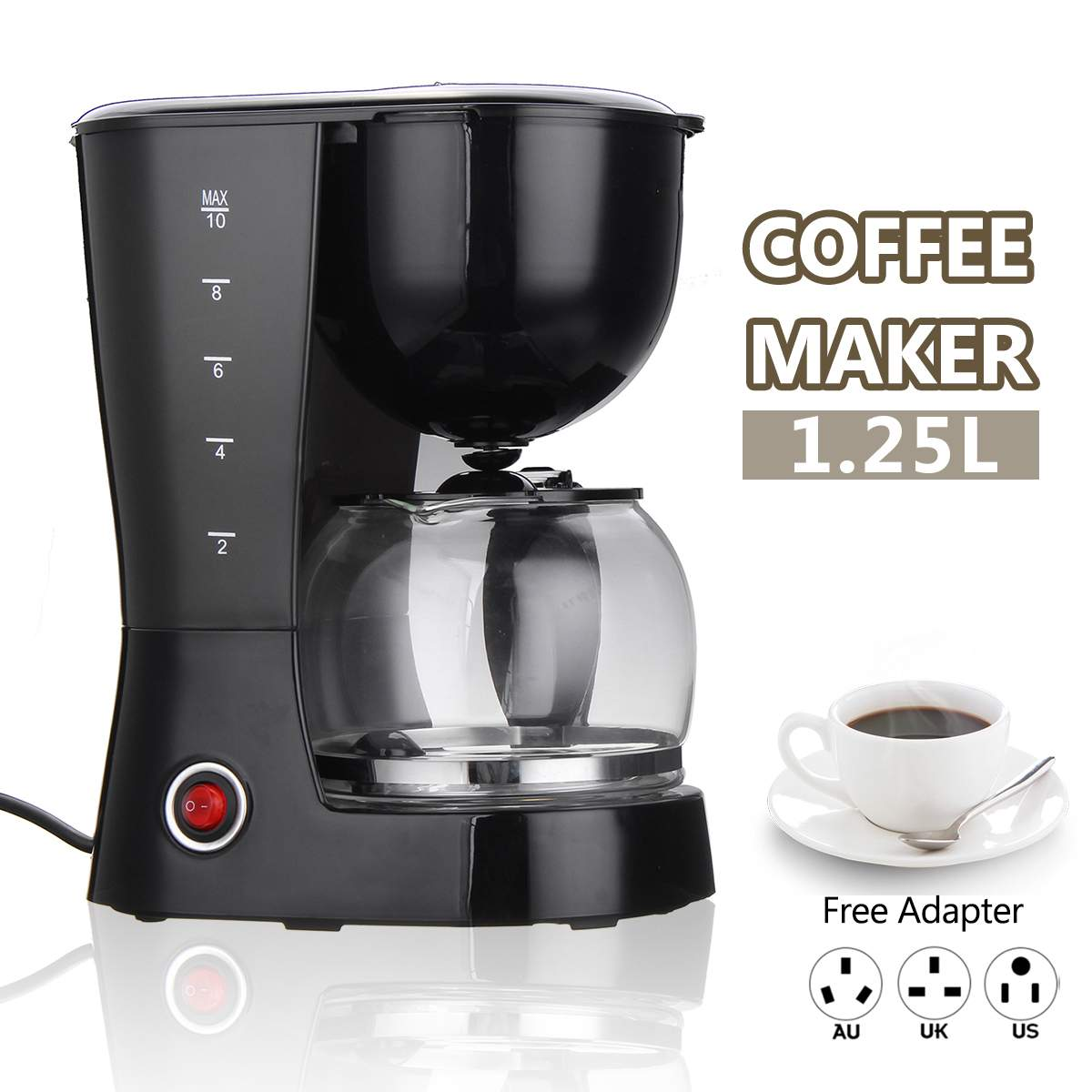 800W Portable 1.25L Electric Drip Coffee Maker Household Tea Espresso Latte Coffee Pot Home Office Cafe Coffee Making Machine800W Portable 1.25L Electric Drip Coffee Maker Household Tea Espresso Latte Coffee Pot Home Office Cafe Coffee Making Machine