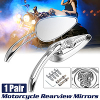 Motorcycle Skull Rear Side Mirror Rearview Mirrors For Harley Davidson Road King Road Glide Electra Glide Sportster Street Glide