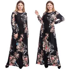 Plus Size New Boho Floral Impressão Maxi Vestido Longo Mulheres Festa Férias Vestido Drapeado Manga Longa Ocasional Muçulmano Malásia Omã vestidos