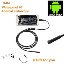 7 мм эндоскоп камера 2 in1 для ПК Тетрадь мобильный телефон на андроиде, IP67 Водонепроницаемый мягкий провод длиной 1 м/1,5 м/2 м/3,5 м usb камера 6LED