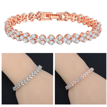 Luxury Chain Bracelets  Roman Crystal Bracelet For Women Wedding Gift Korean Rose Gold Silver Bangles Jewelry pulseras boako luxury crystal bracelet for women wedding gift korean rose gold chain friendship bracelets jewelry bracelet femme