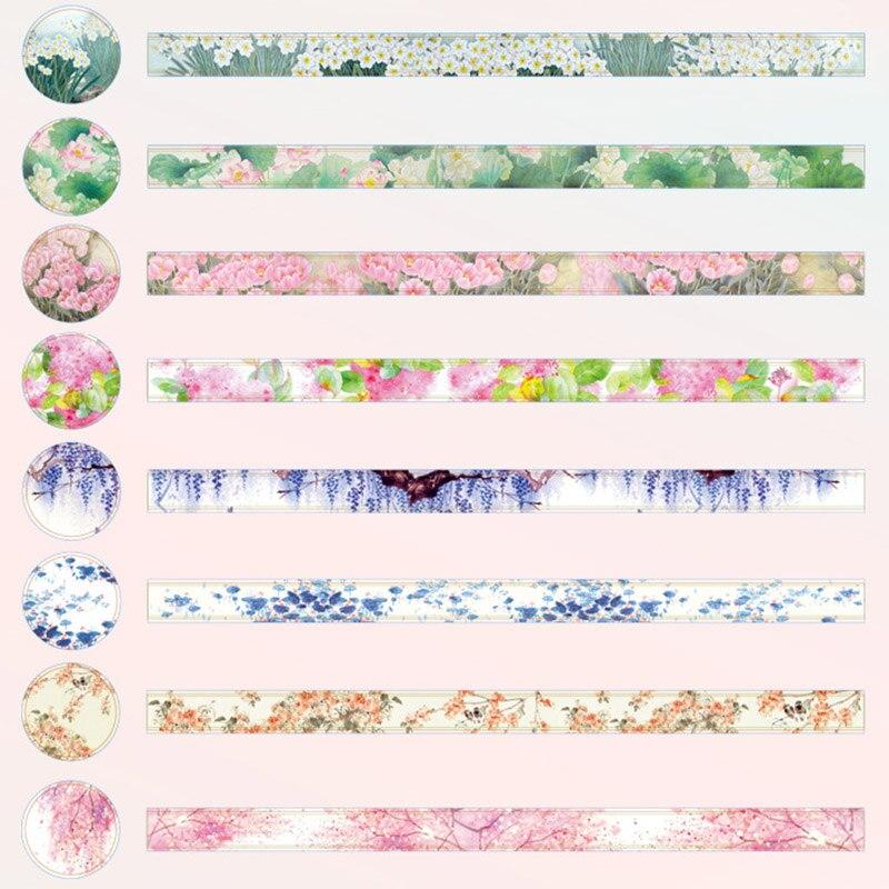 1PC 15mm*5m Cute Flower Washi Tape Decorative Adhesive Tape Kawaii Pink Masking Tape For Kids  Scrapbooking Diary Photos Albums