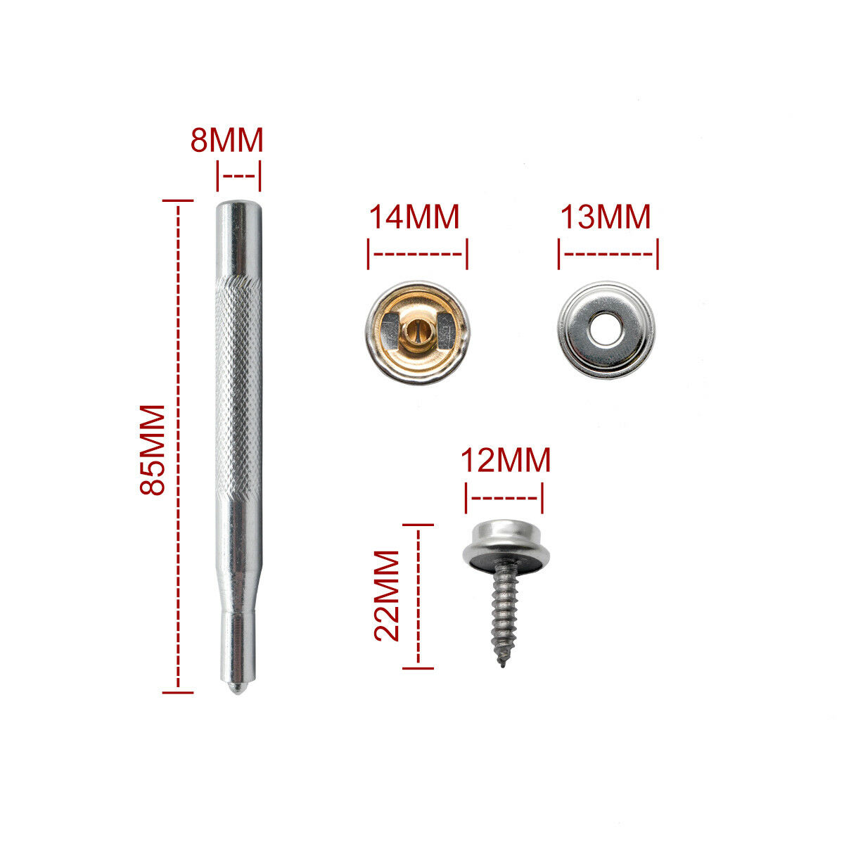 Stainless Steel Canvas to Screw Press Stud Snap Kit Boat Cover Fitting Fastener