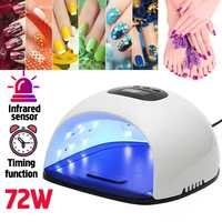 2 IN 1 72W UV Lamp LED Nail Lamp Nail Dryer For All Gels Polish Sun Light Infrared Sensing 30/60/120s Timer Smart For Manicure