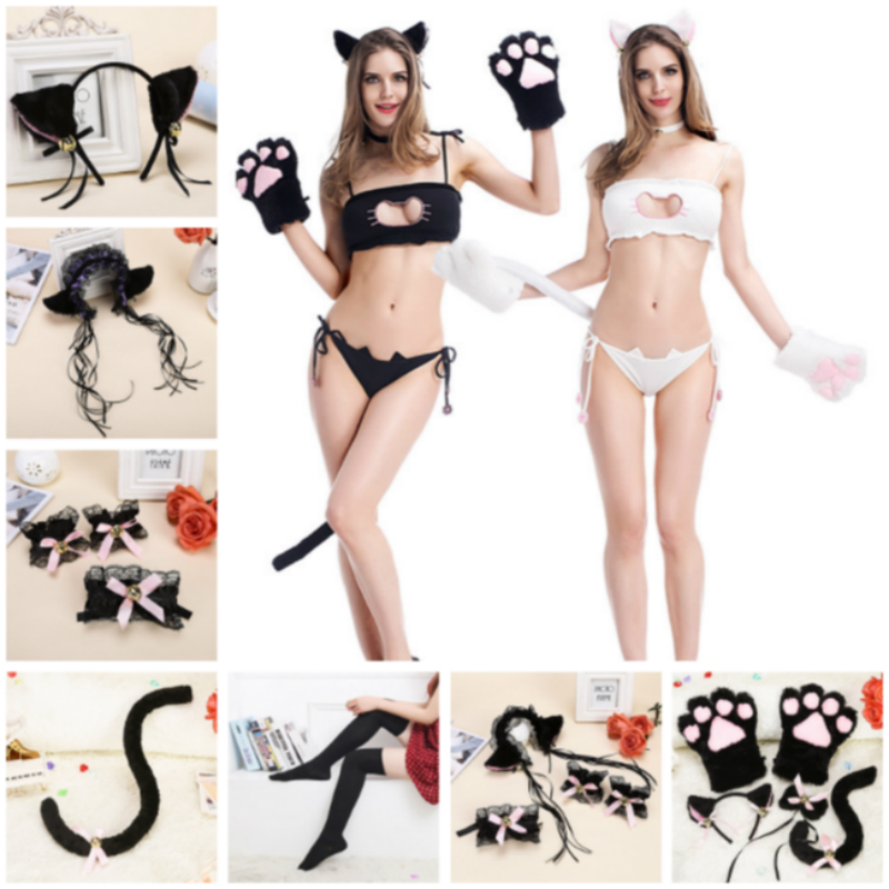 Anime Cosplay for Lovely <font><b>Cat</b></font> Breast Underwear Hollow Out Bra Set <font><b>Sexy</b></font> Bikini Vestidos <font><b>Costumes</b></font> Adult in Halloween Carnival Party image