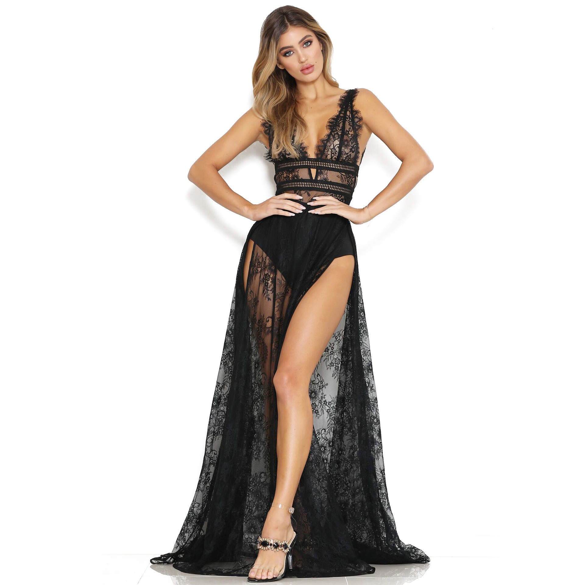 2019 summer European and American style lace dress sexy perspective lace high slit deep V-neck nightclub dress