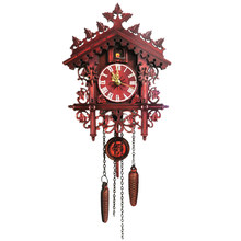 Vintage Wooden Cuckoo Clock Swinging Pendulum Wood Hanging Crafts for Home Decorative Restaurant Living Room Wall Clock(China)