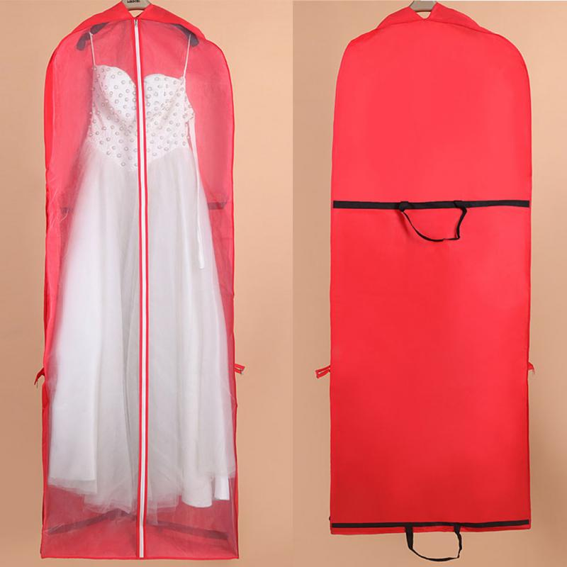 Wedding Gown Preservation Bag: 155cm Long Red Non Woven Fabrics Wedding Dress Dust Proof