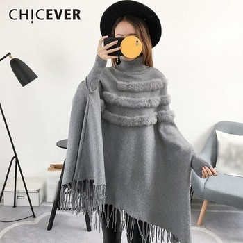 CHICEVER Tassel Tops Female Sweater Pullover Turtleneck Batwing Long Sleeve Loose Knitting Sweaters Autumn Casual Clothing New