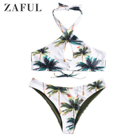 ZAFUL Sexy Women Floral Halter Bikini Set Bandage Push Up Padded Swimwear Coconut Prints Swimsuit Bathing Beachwear Glane