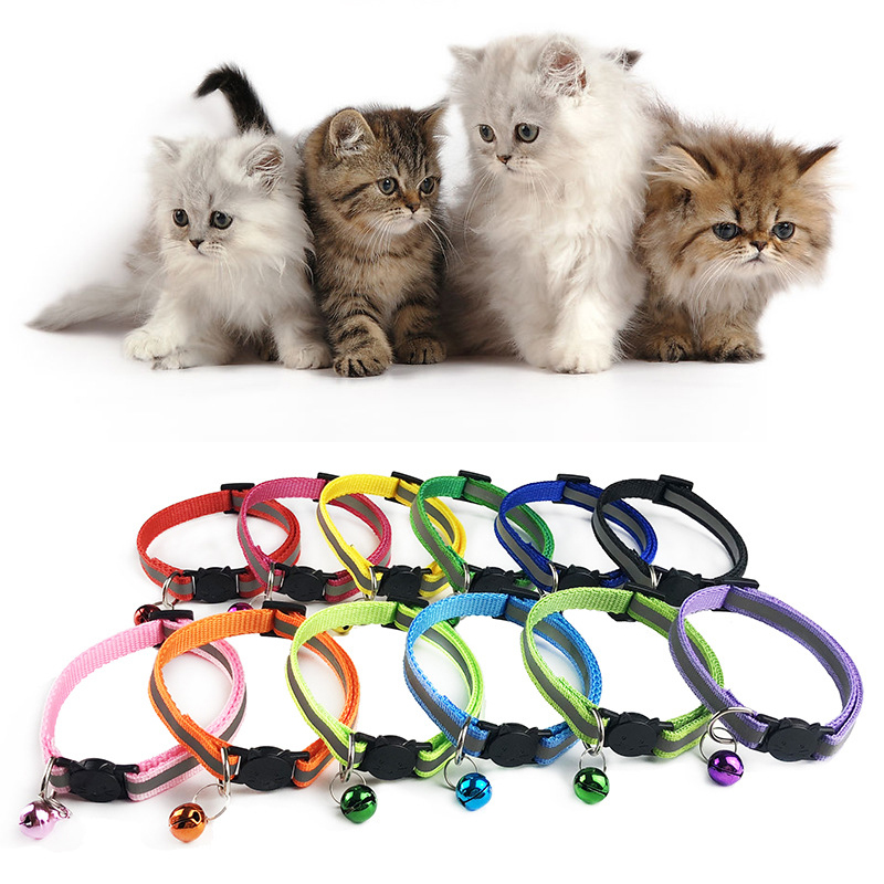 adjustable-10-nylon-dog-collars-pet-collars-with-bells-charm-necklace-collar-for-little-dogs-cat-collars-pet-supplies-hot-sale
