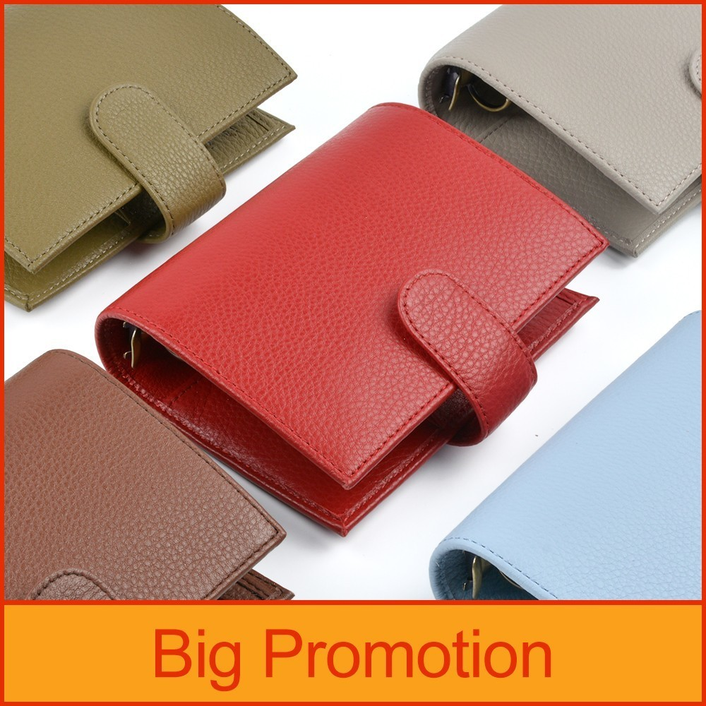 New Arrivals Genuine Leather Rings Notebook A7 Size Brass Binder Mini Agenda Organizer Cowhide Diary Journal