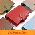 Nueva llegada de cuero genuino anillos cuaderno A7 tamaño latón carpeta Mini del organizador del Programa de piel de vaca diario planificador Bolsillo grande