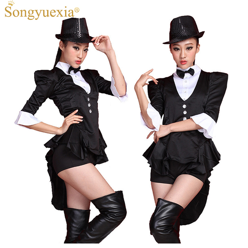 2017 Black Swallowtail Ds Stage Dress Broadway Magician Costumes Bar Nightclub Start Dance Costume Show Clothing