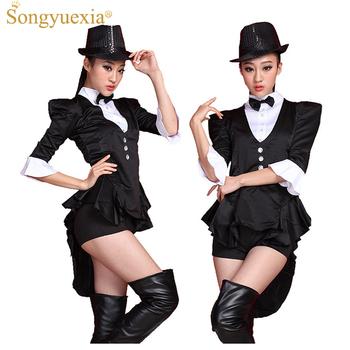 2020 czarny Swallowtail Ds etap sukienka Broadway magik kostiumy Bar nocny Start kostium taneczny pokaż odzież tanie i dobre opinie songyuexia Xinjiang Taniec Kostium WOMEN Akrylowe Poliester Jacket + safety pants + bow tie (without cap) Chiński taniec