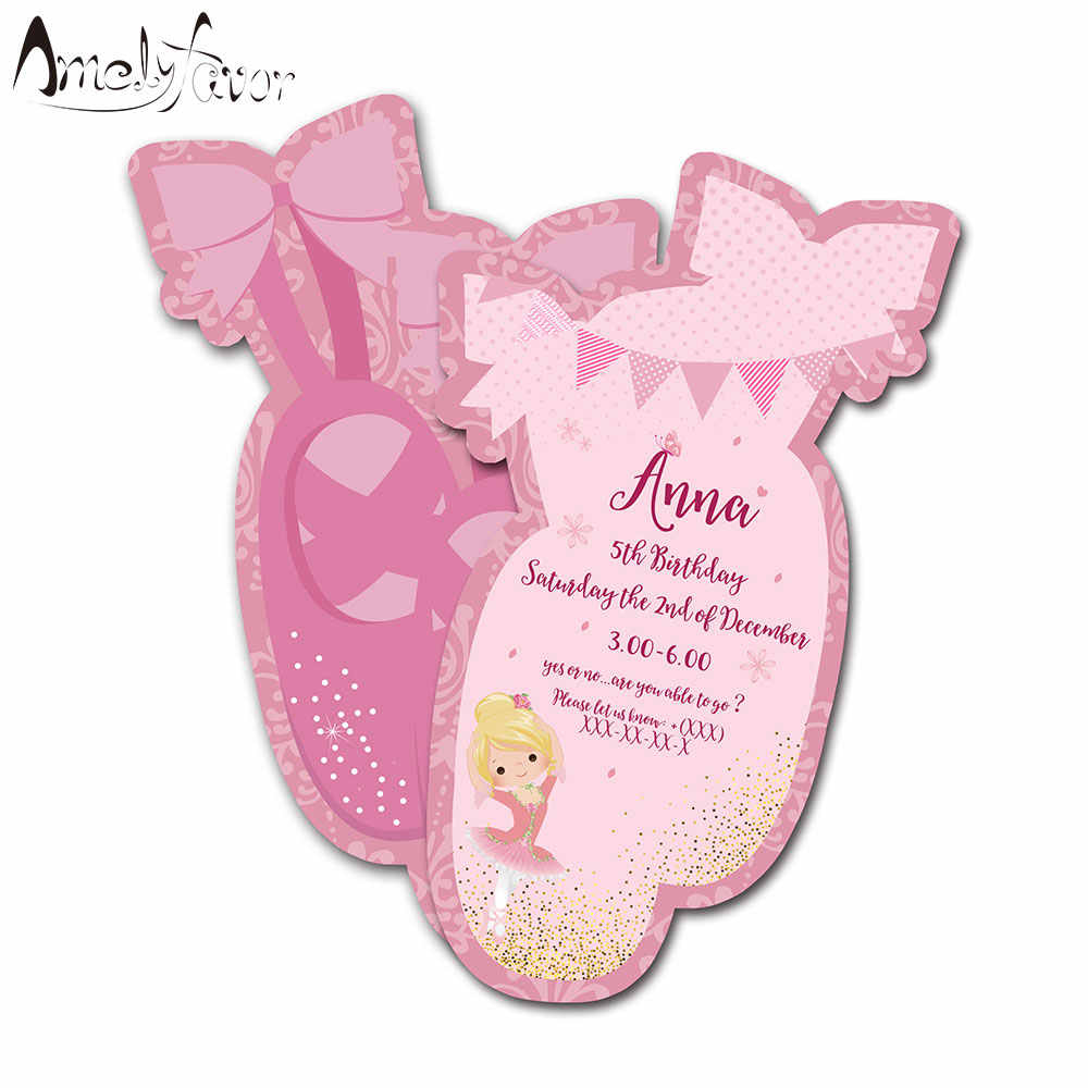 Ballet Theme Invitations Card Birthday Party Supplies Ballerinas Shoes Party Decorations Kids Event Birthday Invitation