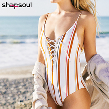 Lacing Striped 2019 Swimwear Women One Piece Push Up Sexy Swimsuit High Leg Cut Tankini For Suit