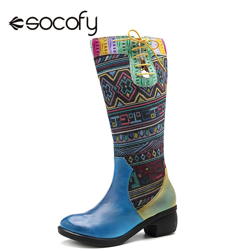 Socofy البوهيمي منتصف العجل أحذية النساء جلد الغنم خمر الشتاء أحذية حريمي برقبة امرأة سستة مكتنزة كتلة كعب السيدات أحذية-في أحذية منتصف ربلة الساق من أحذية على  مجموعة 1