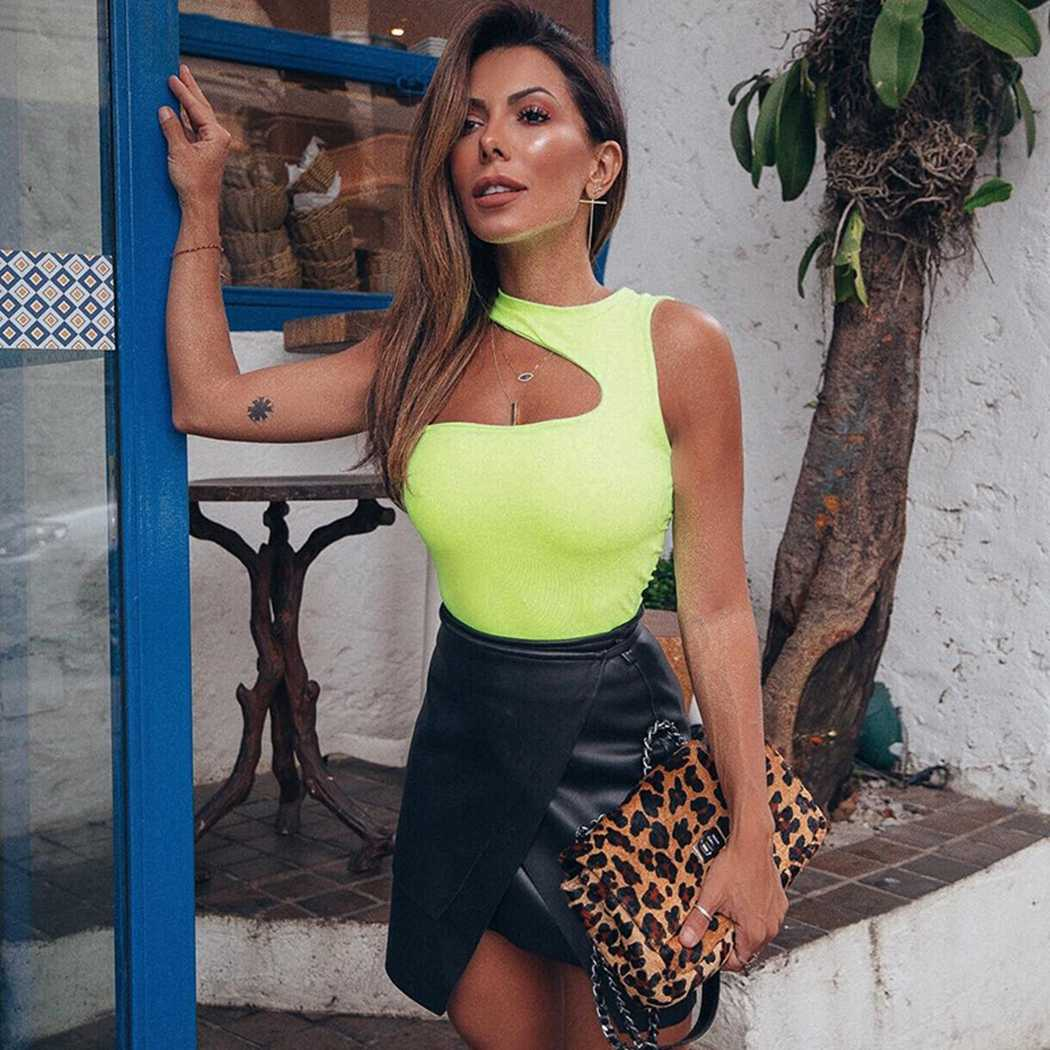 Неоновый зеленый тонкий облегающий комбинезон женский сексуальный Холтер комбинезон с дырками топы Летний комбинезон одно плечо боди костюм цельный