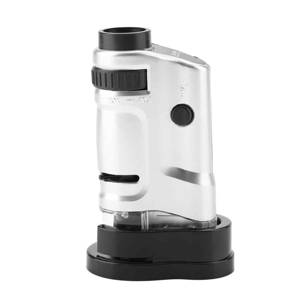 20X-40X zoom led oświetlone oświetlony Mini mikroskop kieszonkowy z podstawą trwałe