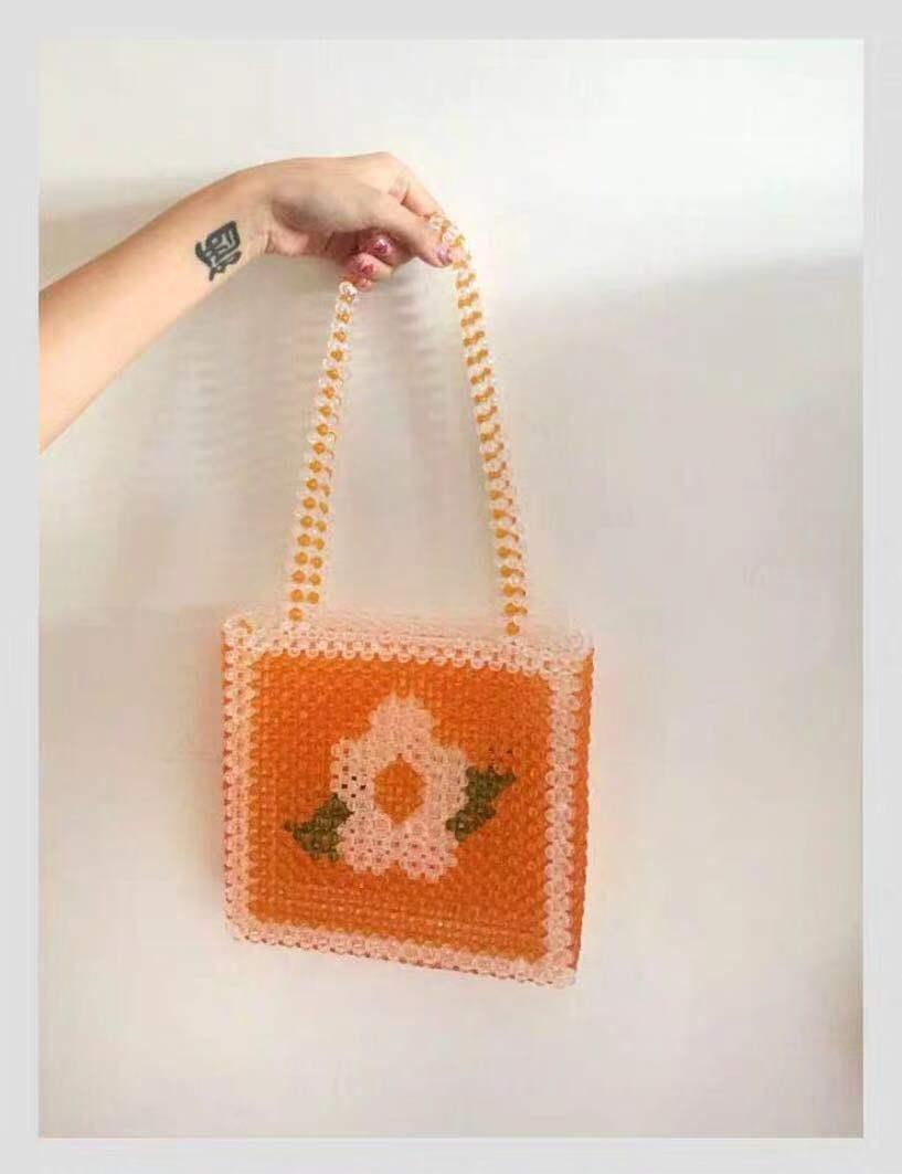 Perle sac fleur perlée sac jaune perle femme Oblique croix Double avec unique sac à bandoulière Ins fait main femme sac