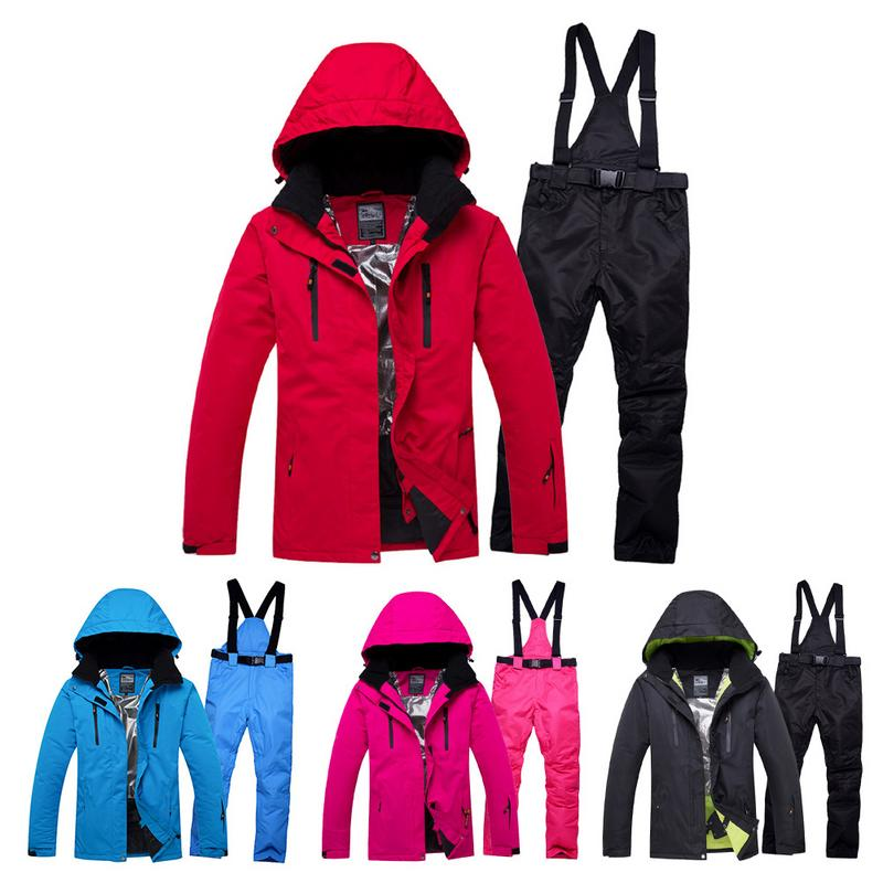 100% Quality Ski Suit Waterproof Warm Snow Skiing Cotton Coat Trousers Set Outdoor Uv-resistant Thermal Breathable S-2xl Size For Neutral High Quality Materials
