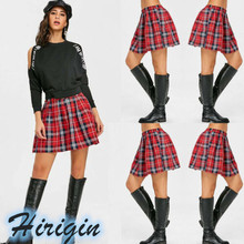 Summer Women Casual Skirts Elastic High Waist Flared Pleated Mini Plaid Short